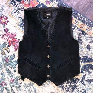 Vintage Black Suede Vest 🔥